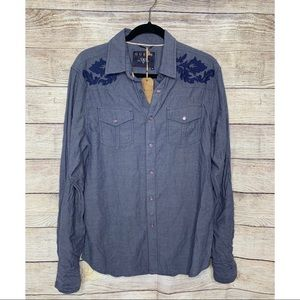 Guess Western Embroidered chambray shirt